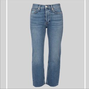 Re/done stove pipe raw hem straight leg jeans